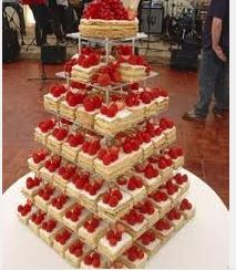 millefeuille wedding cake. I like this idea that they are individual pieces with the top one being a bigger piece. easier for guest to take a piece