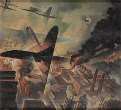 Tullio Crali, Bombardamento di una fabrica (Bombing a Factory) - 1938 Italian Futurism, Modern Art, Contemporary Art, Futurism Art, Italian Painters, Environmental Art, Art Deco Design, Magazine Art, Painting & Drawing