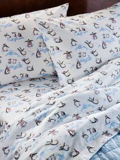 Lanz of Salzburg flannel sheets in a whimsical penguin print are warm and cozy. cotton flannel sheets are triple-brushed on both sides for soft flannel bedding. All About Penguins, Cute Penguins, Penguin World, Penguin Love, Bed Sheet Sets, Twin Sheets, Bed Sheets, Little Girl Rooms, Bath Accessories