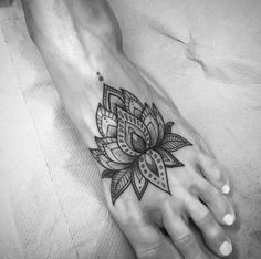 Mandala lotus flower on foot by Clara Welsh