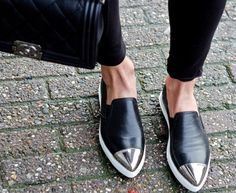 crackled leather and miu miu slip ons #shoes