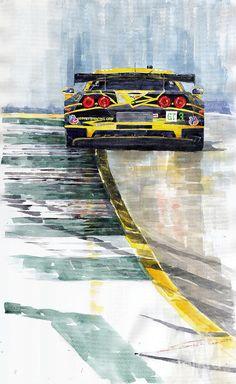 Yurly Shevchuk WATERCOLOR Corvette C6 Painting