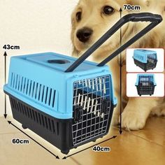 2014 Model Blue 60cm Wheeled Pet Dog Cat Carrier With Handle