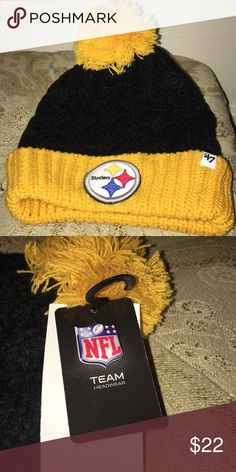 Pittsburgh Steelers Beanie hat Brand New!!   A pompom-topped hat with a bold Steelers logo patch to show off your team loyalty.  100% Acrylic 47 Brand Accessories Hats