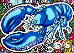"""Oxana Prantl - """"The Blue Lobster"""" - Acrylic Paint on canvas. 100 x 140 cm. Memento Mori, Acrylic Painting Canvas, Pop Art, Sonic The Hedgehog, Artwork, Blue, Fictional Characters, Work Of Art, Fantasy Characters"""