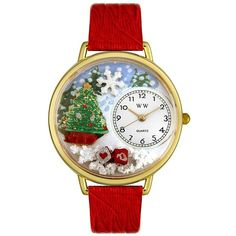 Whimsical Women's Christmas Tree Theme Red Leather ($36) ❤ liked on Polyvore featuring jewelry, watches, multiple colors, tri color jewelry, colorful watches, red jewelry, red dial watches and red wrist watch