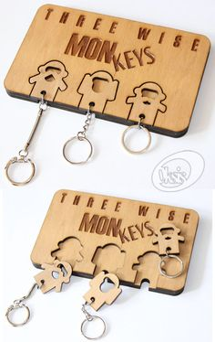 Wall Key Holder monkeys keychains home decor Wood Key by Oksis