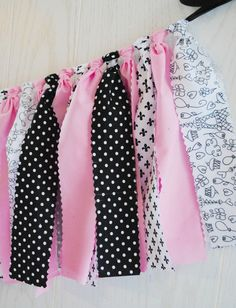 Springtime in Paris is all about pink cherry blossoms against the black of the Eiffel Tower -- or so I'd like to imagine! This pink and black springtime in Paris party bunting coordinates seamlessly w
