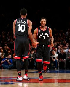 Demar DeRozan (left) and Kyle Lowry (right) Nba Basketball Teams, Basketball Legends, Toronto Raptors, Lebron James Wallpapers, Rap City, Serge Ibaka, Fantasy Basketball, Kyle Lowry, Nba Season