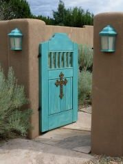 Love this courtyard gate....match with front door color...yum