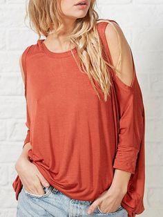 Orange Long Sleeve Cold Shoulder T-Shirt