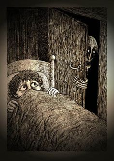 Bugbears(Bug-a-Boos,Bucca,Bugs, Bugans,Boggle-Boos,Boo-Baggers, Bugges)They are similar to Bogeymen w/their potential to shape into forms from the minds of young kids.The term is used to refer to anything that scares,in particular to those strange & sinister creatures that dwell under beds,in closets or behind curtains.Night-lights have traditionally been used to keep them at bay.It's been said that their name derives from the belief that they either wore bearskins or had faces of bears.7-2