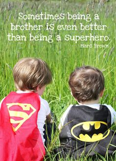 This would be a cute picture to do with brother or sister except I would probably do batman and robin or batman with batgirl :)