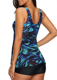 a755c515da V Neck Drawstring Side Printed Tankini Set | liligal.com - USD $31.23 Swim  Dress