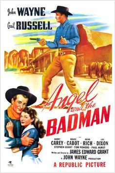 Angel and the Badman is in some ways an odd choice for John Wayne's first production, though in others it shows a bit of a precursor of how he handled his later career. For the film isn't an action packed feature with Wayne in a forceful leading role. Old Movies, Vintage Movies, Vintage Art, Iowa, Republic Pictures, Westerns, John Wayne Movies, Films Cinema, Old Movie Posters