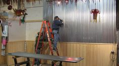 corrugated tin walls - conference room or lobby