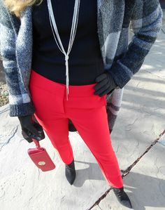 Plaid sweater coat: Lulus , Ribbed turtleneck: Ralph Lauren , Red pants: Topshop , Suede booties: Adrienne Vittad...