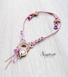 Soutache necklace in orchid purple and golden beige. by Sengabeads