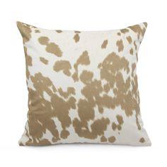 Tan Cowhide Print Pillow Cover 18x18 20x20 22x22 Euro or