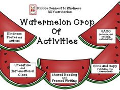 This Watermelon Unit is part of the Kiddos Connect to Kindness All Year Series.  (Please check out A Classroom Full of Kind Kiddos Freebie for a list of the monthly units.) The components included are the following: *Kindness poster and extensions *Literature book close with a kindness theme (Watermelon Party, by Jasmine Cabanaw) with WOW!