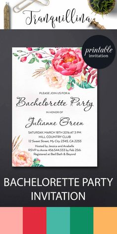 Bachelorette Invitation, Printable Bachelorette Party invitations, Floral Hens Night Invitation - pinned by pin4etsy.com