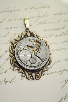 Pendant Movement Steampunk Jewelry Making Pendant - Watch Parts Movement Silver Brass Antiqued Gold Vintage