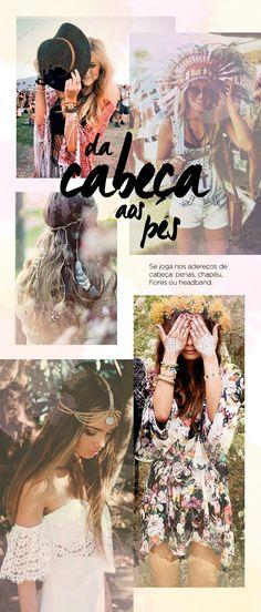 Festival fashion l Coachella, Splendour in the grass, Lollapalooza l Boho, rocker, military l Hat, headband, flower crown, indian.