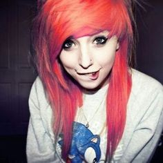 The color is perf. #ColorfulHair #RedHair #SceneHair #Alternative