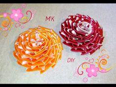 Красивая РОЗА канзаши. Цветы канзаши. Цветы из атласных лент. Flowers kanzashi. - YouTube