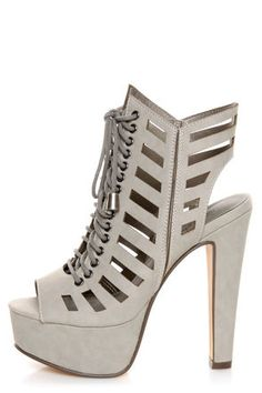 Michael Antonio Tiber Light Grey Cutout Lace-Up Platform Booties