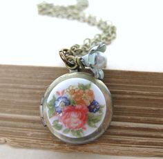 Vintage Locket Flower Necklace Pearl Charm by BumbershootDesigns,