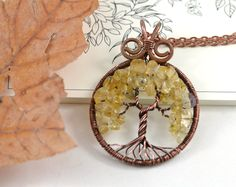 November Birthstone Citrine Necklace Tree-Of-Life Pendant Copper Wire Wrapped…