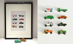 framed toy cars, use a magnet board and you can have storage and art all in one. Just a thought!