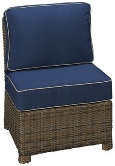 Cape May Wicker-Bainbridge-Cape May Wicker Bainbridge Armless Chair with Cushions - Jordan's Furniture