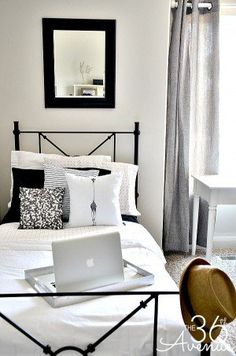 Cute black and white bedroom perfect for all ages, especially teens.