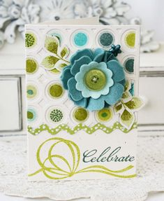 celebrate card - Beautiful Blooms II dies, Ribbons & Bows stamp set, Polka Dot stamps, Cover Plate: Circles