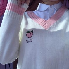 Strawberry peach kawaii v neck sweater vest Kawaii Fashion, Cute Fashion, Fashion Outfits, Black Hoodie Outfit, Ropa Color Pastel, Peach Clothes, Style Japonais, Lolita, Kawaii Clothes