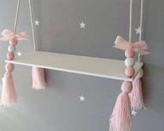 Hanging shelf tassel shelf floating shelf Nordic style shelf Nursery decor Nursery shelf girls shelf girls room decor Nursery ideas Bebek Odası – Home Decoration Boys Room Decor, Nursery Decor, Bedroom Decor, Nursery Ideas, Nursery Room, Nursery Grey, Hanging Shelves, Wooden Shelves, Diy Home Crafts
