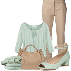 """mint and nude"" by tanya-misener on Polyvore"