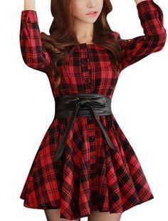 Allegra K Lady Button Cuff Plaids Pattern Casual Shirt Dress w Belt Red Black S