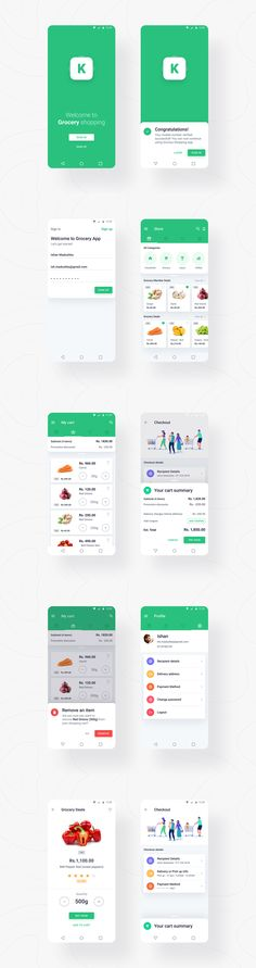 Grocery Shopping App - Android UI/UX Design for Groceries Shopping App. Shopping for groceries is much easier with an App. Here I tried to design the UI as simple as possible which make the functionality easier to it's users. Android App Design, Android Ui, App Ui Design, Mobile App Design, Mobile Ui, Interface Design, User Interface, Web Design, Grocery Delivery App