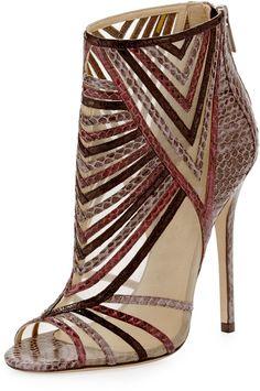 Jimmy Choo Kara Peep-Toe Snake Ankle Bootie, Multicolor on shopstyle.com