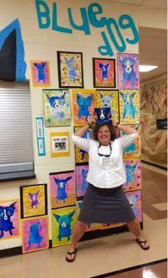 Kim & Karen: 2 Soul Sisters: Blue Dog and a Not So Blue Teacher! Middle School Art Projects, High School Art, Sisters Art, Soul Sisters, Art Lessons For Kids, Art Lessons Elementary, 2nd Grade Art, Grade 2, Second Grade