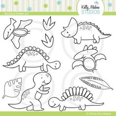 Items similar to Dinosaur - Digital Stamps, Elements Commercial use for Cards, Stationery and Paper Crafts and Products by Kelly Medina on Etsy Dinosaur Crafts, Dinosaur Party, Dinosaur Birthday, Felt Patterns, Applique Patterns, Desenho Kids, Arlo Und Spot, Felt Crafts, Paper Crafts