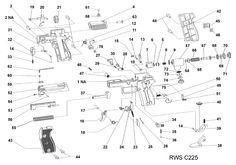RWSmodelc225-ERWS   Diana Model C225 Air Pistol Schematic