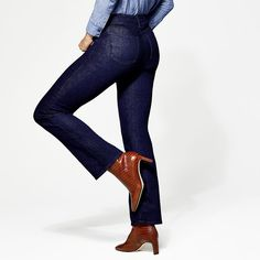 The Jean Styles our Editors Swear By Womens Closet, Ribbed Turtleneck, Denim Trends, Denim Style, Best Jeans, Slim Jeans, Denim Fashion, Chambray, Wardrobe Staples