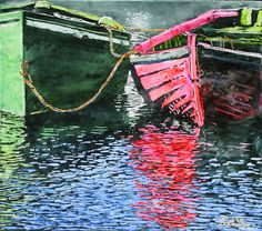 """red n green dories nova scotia 16"""" x 18""""  micheal zarowsky /mixed media - watercolour / acrylic painted directly on gessoed birch panel - private collection / private collection"""