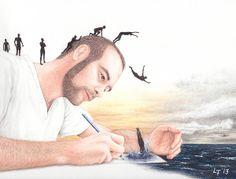 Cliff Diving by Lars Furtwaengler | Colored Pencil | 2013
