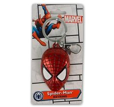 Spider-man Accessories - Spider-man Head Colored Pewter Key Chain by Animation Shops