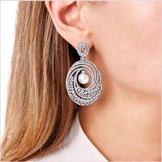 Mayfair South Sea Pearl and Diamond Earrings in White Gold - Yoko London Pearl And Diamond Earrings, Gold Diamond Earrings, Pearl Jewelry, Crystal Jewelry, Goth Jewelry, Paper Jewelry, Wire Jewelry, Crystal Beads, Diamond Jewelry
